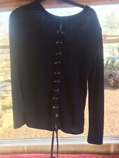 ladies blue Long Sleeve top size 12 With Lace Up Back