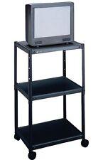 Quartet Metal Rolling 3 Shelf Audio Visual Cart Adjustable Height AV QRT88254