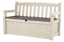 Keter Eden 70 GAL ALL Wetter Outdoor Patio Storage Bench Deck Box, beige/Brow