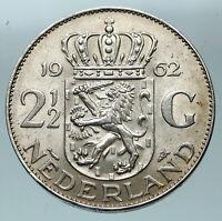 1962 Netherlands Kingdom Queen JULIANA Vintage Silver 2 1/2 Gulden Coin i84464