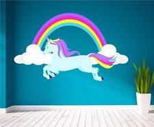 Horse Unicorn Rainbow Girls Pretty Clouds Wall Art Sticker Decal Mural Print P1W