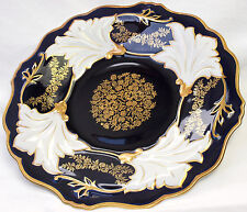 Schale Platte Zier Prunk Teller 32cm GDR Kobalt Blau Gold Weimar gemarket