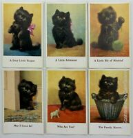 6 x E. L. Beckles Cats Kittens vintage postcards 1930's Black Cat Series