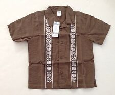 NWT Gymboree The Islands Size S 5-6 Brown Linen Blend Embroidered Shirt