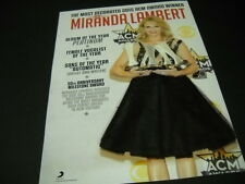 MIRANDA LAMBERT Most Decorated ACM Award Winner PROMO POSTER AD mint condition