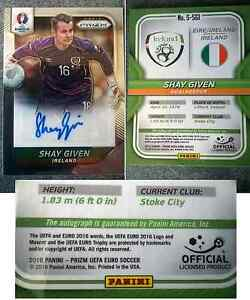 Panini Prizm Euro 2016 Shay Given Autograph Signed Offical Signature Card
