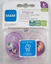 MAM ORIGINAL n°2 Succhietti mesi 6+ ciucci silicone viola trasparente isola box