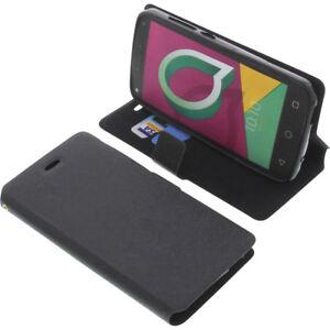 Custodia Per Alcatel U5 3G Book-Style Protettiva Cellulare a Libro Nero