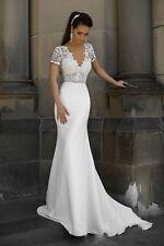 V Neck Lace Chiffon Short Sleeve Wedding Dress Mermaid White/Ivory Bridal Gown