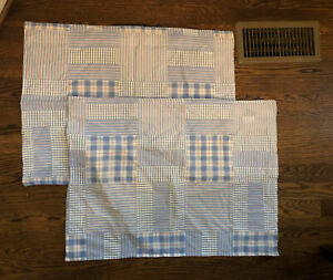 Tommy Hilfiger CapeTown Standard Pillow Shams Blue White Windowpane Patchwork 2