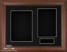 New Dark Wood Cushion Wooden Deep Box Display Frame Photos Keepsake Medals Cast