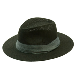 For Unisex Beach Sun Straw Panama Fedora Summer Flat Hat Big Brim Band Cap Hats