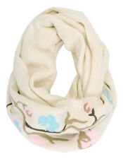 Nwt $200 True Religion Women's INFINITY Knit Loop Scarf Wrap ~Off-White/Floral