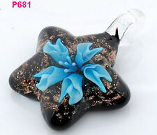 1pc handwork flower star lampwork art glass beaded pendant necklace JP681