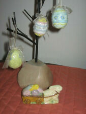 4 Teena Flanner Easter Decorations 3 Egg Ornaments + Bunny Pulling Easter Wagon