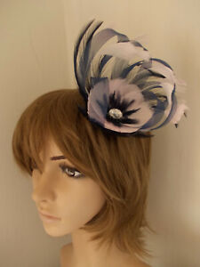 Navy Blue & Pale Pink Looped fascinator feathers diamante hair clip brooch