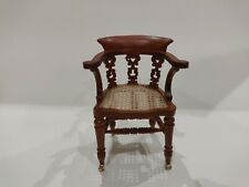 Dollhouse Miniature Walnut Writing Chair on Casters 1:12 Scale
