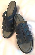 HUSH PUPPIES Womens Navy Blue Slide On Wedge Sandals-Sz 9.5 M-EUC