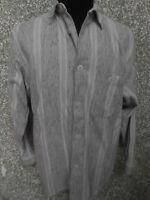 180 M5 SIGNUM Marken Hemd Gr. S weiß grau schwarz gestreift Langarm Kentkragen
