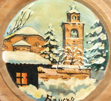 VINTAGE SNOWY LANDSCAPE CITYSCAPE OIL WOOD PLATE PAINTING SIGNED
