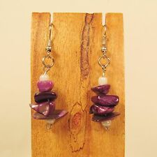 "1"" Dark Purple Mother of Pearl Stacked Shell Chips Handmade Drop Dangle Earring"