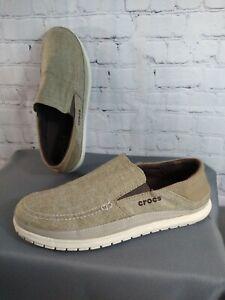 EUC men's CROCS khaki SANTA CRUZ PLAYA slip on casual shoes - size 13