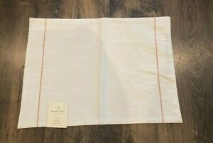 *NWT* 1 Hearth & Hand with Magnolia White w/Coral Embroidered Linen Place mat