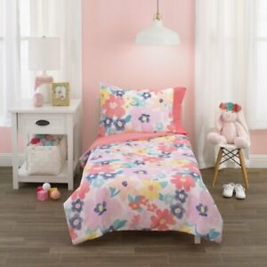 Carter's Pink Floral 4 Piece Toddler Bedding Set See Details !