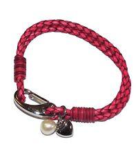 """""""TRIBALE ACCIAIO"""" 19 cm rosa in pelle Multi Strand Bracciale con cuore & perle charms"""