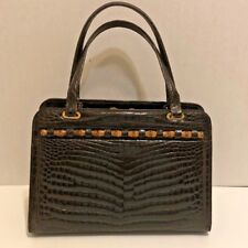 de7e97305780 VINTAGE GUCCI DARK BROWN CROCODILE SKIN   BAMBOO KELLY STYLE BAG - TIMELESS