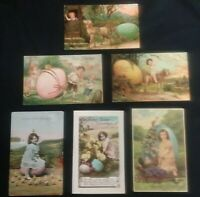 Early 1900's Antique German Made, RPPC Easter Egg Postcards