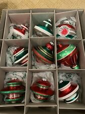 Radko  Set Of 9 Shiny Brite Glass Ornaments - Shapes  - EUC