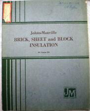 Johns Manville ASBESTOS Brick Sheet Block Insulation Cement Fire-Felt Catalog