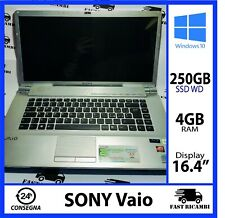 NOTEBOOK PORTATILE SONY VAIO VGN-FW21E 250GB SSD 4GB RAM CPU INTEL Core
