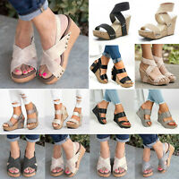 Women Summer Sandals Wedge Platform Mid Heel Peep Toe Gladiator Pumps Shoes Size