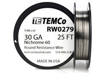 TEMCo Nichrome 60 series wire 30 Gauge 25 Ft Resistance AWG ga