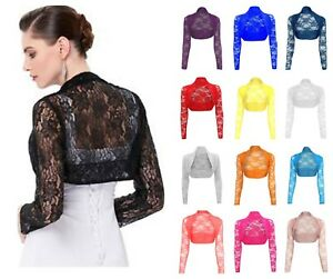 Ladies Stretchy Lace Cropped Bolero Shrug Women Sheer Party Open Top Size 8-26