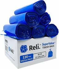 Reli. SuperValue 33 Gallon Recycling Bags (120 Count) Blue Trash Bags 30-35 Gal