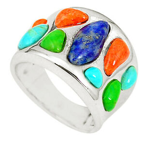 New Collection Southwestern Multi Color Copper Turquoise Ring Size 6 C10335