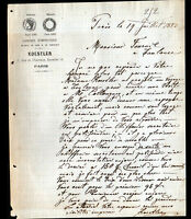 "PARIS (XI°) USINE de MEUBLES de luxe / EBENISTERIE ""KOESTLER"" en 1883"