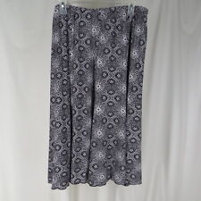 Dress Barn 1X Skirt Black White Knit Print Below Knee Length Career