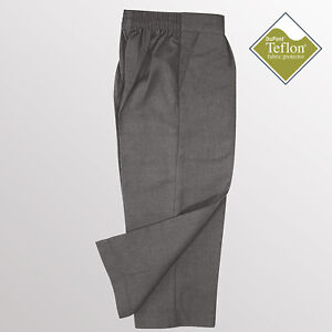 Boys School Trousers Essential Pull On School Trousers Teflon Coated Grey Black