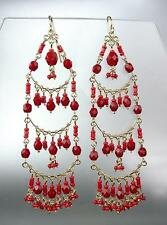 STUNNING Garnet Red Crystal Beads Gold Chandelier Dangle Peruvian Earrings B52-6