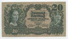 GB559 - Banknote Österreich 20 Schilling 1928 Pick#95 TOP SEHR RAR 1.Republik