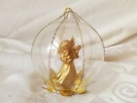 Wire Wrap German Glass Christmas Ornament Gold Angel Violin Vintage