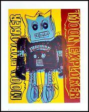 Andy Warhol Moon Explorer Robot Poster Stampa d'arte nel quadro in alluminio nero 36x28cm