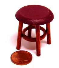 1:12 Scale Small Stained Wood Stool With A Burgundy Seat Tumdee Dolls House