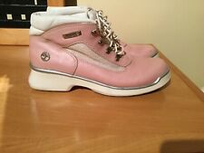 Timberland Pink Leather High Top Sneakers Sz 8 Lace Up Outdoor Shoes Ankle Boots