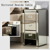 Crystal 3 Drawer Mirrored Cabinet Table Dresser Storage Silver Glass