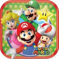 Super Mario Brothers Party Supplies -  Mario Luncheon Party Plates - 8pk 18cm